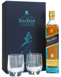 John Walker & Sons Blue Label 25 Years Old in box with two glasses фото